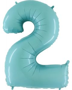 2 Pastel Blue Folienzahlen 14in/35cm