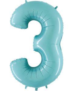 3 Pastel Blue Folienzahlen 14in/35cm