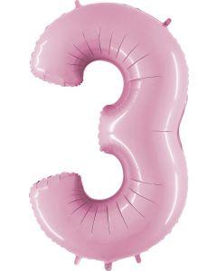 3 Pastel Pink Folienzahlen 14in/36cm