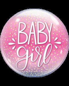 Baby Girl Pink & Confetti Dots Single Bubble 22in/55cm