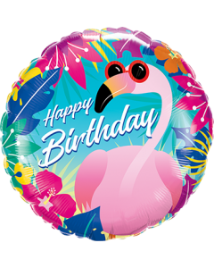 Birthday Tropical Flamingo Folienform Rund 18in/45cm
