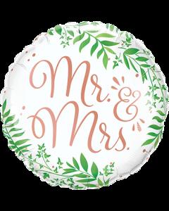 Mr und Mrs Elegant Greenery Folienform Rund 18in/45cm
