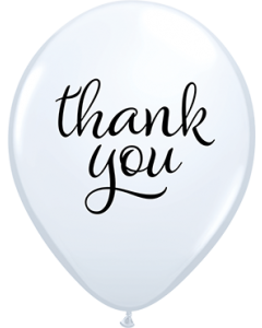 Simply Thank You Standard White Latexballon Rund 11in/27.5cm