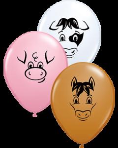 Farm Animal Faces Sortiment Latexballon Rund 5in/12.5cm