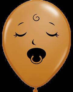 Sleeping Pacifier Baby Face Fashion Mocha Brown Latexballon Rund 5in/12.5cm