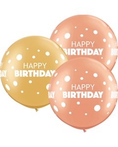 Birthday Big & Little Dots Special Sortiment Latexballon Rund 36in/90cm