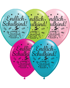 Endlich Schulkind! Lime Green, Orange, Pale Blue, Wild Berry, Yellow Sortiment Latex 16in/40cm