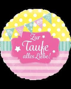 Zur Taufe alles Liebe Pink Folienform Rund 24in/60cm