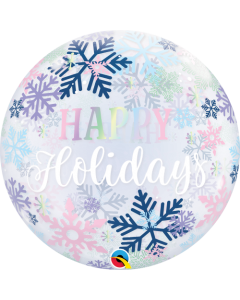 Happy Holidays Snowflakes Single Bubble 22in