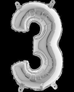 3 Silver Folienzahlen 26in/66cm
