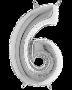 6 Silver Folienzahlen 26in/66cm