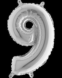 9 Silver Folienzahlen 26in/66cm