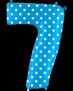7 Pois Turquoise Folienzahlen 40in/100cm
