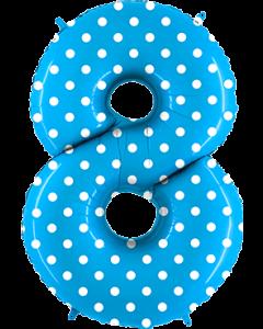 8 Pois Turquoise Folienzahlen 40in/100cm