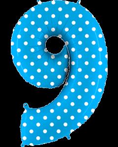 9 Pois Turquoise Folienzahlen 40in/100cm