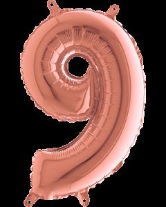 9 Rose Gold Folienzahlen 14in/36cm