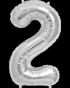2 Silver Folienzahlen 7in/18cm