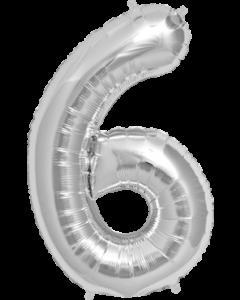 6 Silver Folienzahlen 7in/18cm