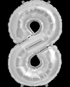 8 Silver Folienzahlen 7in/18cm