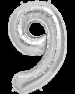 9 Silver Folienzahlen 7in/18cm