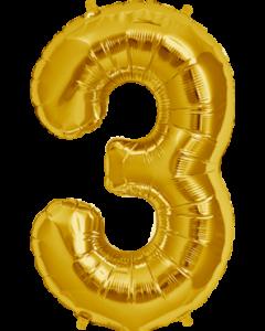 3 Gold Folienzahlen 7in/18cm