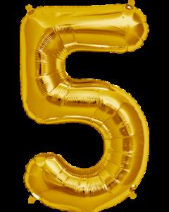 5 Gold Folienzahlen 7in/18cm