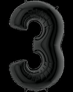 3 Black Folienzahlen 26in/66cm
