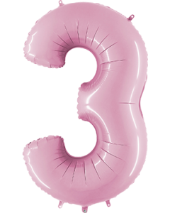3 Pastel Pink Folienzahlen 26in/66cm