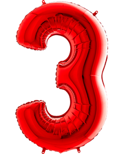 3 Red Folienzahlen 26in/66cm