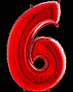 6 Red Folienzahlen 26in/66cm