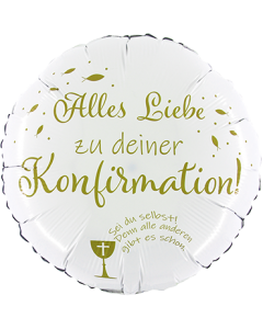 Alles Liebe zu deiner Konfirmation White w/Gold Ink Folienform Rund 18in/45cm