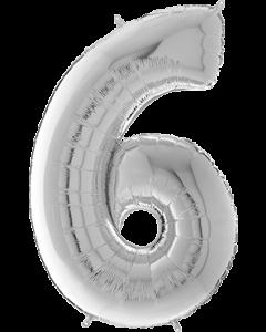 6 Megaloon Silver Folienzahlen 40in/100cm
