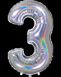 3 Megaloon Silver Glitter Holographische Folienzahlen 40in/100cm