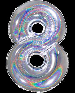 8 Megaloon Silver Glitter Holographische Folienzahlen 40in/100cm
