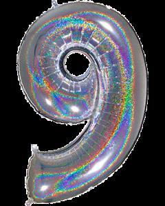 9 Megaloon Silver Glitter Holographische Folienzahlen 40in/100cm
