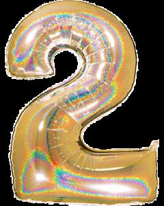 2 Megaloon Gold Glitter Holographische Folienzahlen 40in/100cm