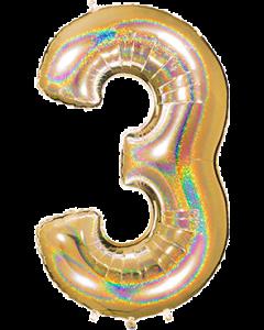 3 Megaloon Gold Glitter Holographische Folienzahlen 40in/100cm