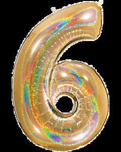 6 Megaloon Gold Glitter Holographische Folienzahlen 40in/100cm