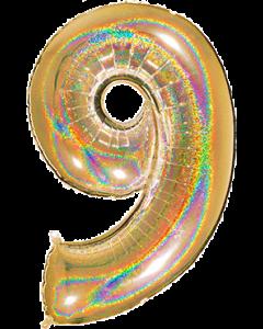 9 Megaloon Gold Glitter Holographische Folienzahlen 40in/100cm
