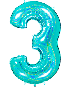 3 Megaloon Tiffany Glitter Holographische Folienzahlen 40in/100cm