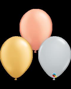 Tri-Color Metallic Sortiment Latexballon Rund 16in/40cm