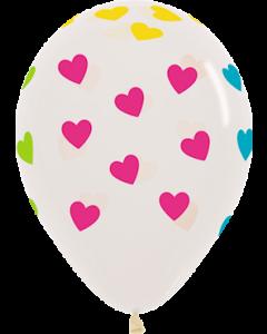 Classic Hearts Neon Crystal Clear Latexballon Rund 11in/27.5cm
