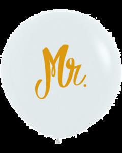 Mr Fashion White w/Gold Ink Latexballon 24in/60cm