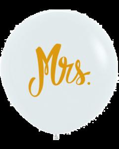 Mrs Fashion White w/Gold Ink Latexballon 24in/60cm