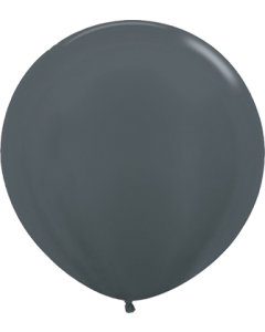 Metallic Graphite Latexballon Rund 24in/60cm