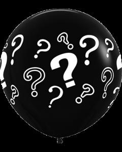 Question Marks Black Latexballon Rund 36in/90cm