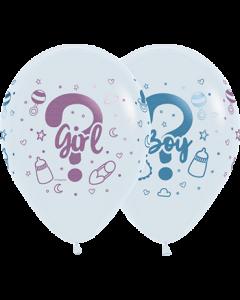 Boy Or Girl White mit Metallic Tinte Latexballon Rund 11in/27.5cm