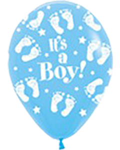 It's A Boy Footprint Light Blue Latexballon Rund 5in/12.5cm