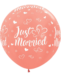 Just Married Hearts Metallic Rose Gold Latexballon Rund 36in/90cm