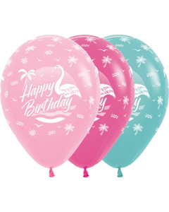 Happy Birthday Flamingo Sortiment Latex Rund 11in/27.5cm